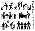 Family Abuse Children Hitting Confine Sexual Harassment Stick Figure Pictogram Icon - stock photo