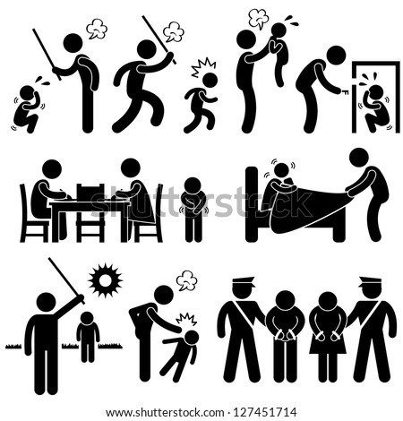 Family Abuse Children Hitting Confine Sexual Harassment Stick Figure Pictogram Icon
