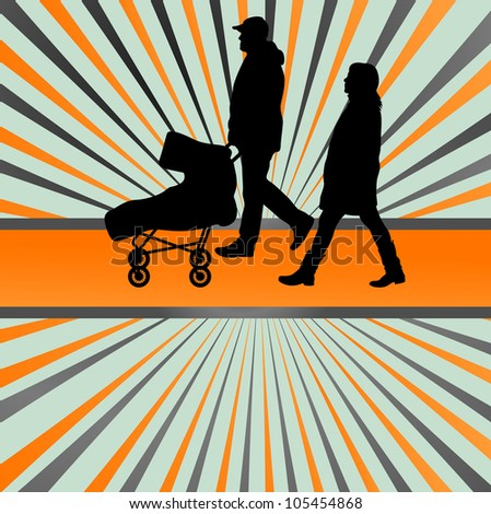 Family and baby stroller vector burst background - stock vector