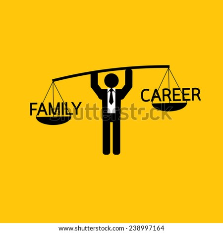 family and career icon : businessman carry family more than career : business concept on yellow background - stock vector