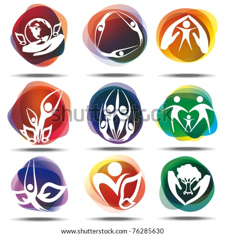 family and children icons - stock vector