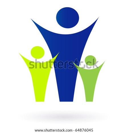 Family and community pictogram - adult and kids. Vector pictogram inspired by people, family, love, nature and togetherness. - stock vector