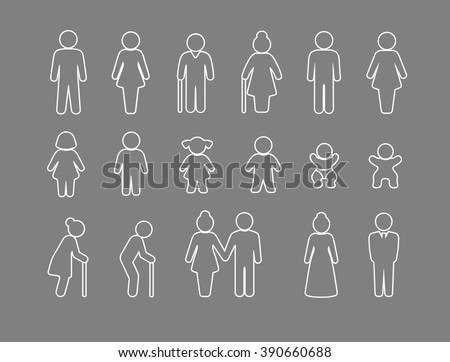 Family and friends icon set - stock vector