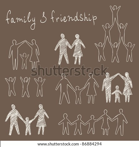 family and friendship symbols vector set - stock vector