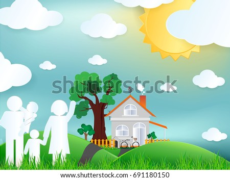 family and green city for life.The eco-friendly city vector paper art illustration paper cut