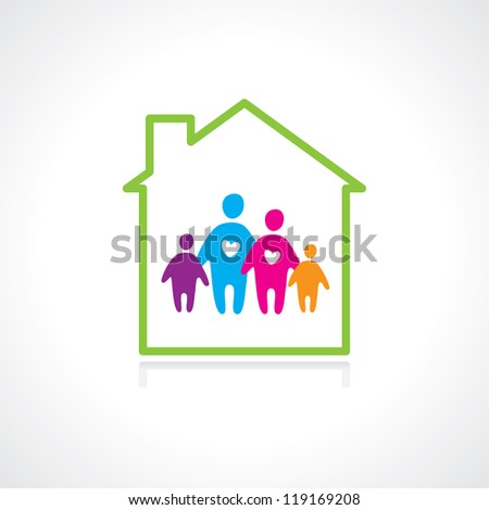 Family and home concept. Silhouette family icon and house. Vector illustration - stock vector