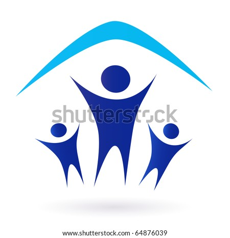Family and house roof icon isolated on white - blue. Vector Illustration. - stock vector