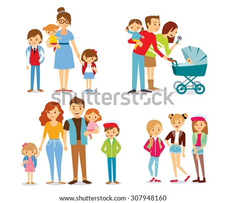 family and kids - stock vector