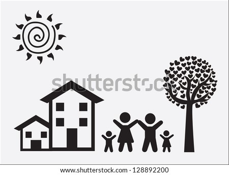 Family and landscape over white background - stock vector