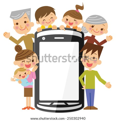 Family and Mobile - stock vector