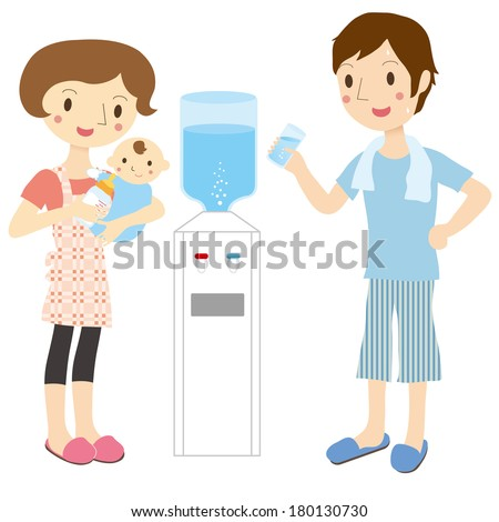 Family and water server - stock vector