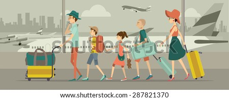 Family at an airport transit  - stock vector