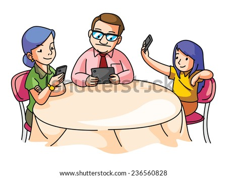 Family at the dining table with gadget - stock vector