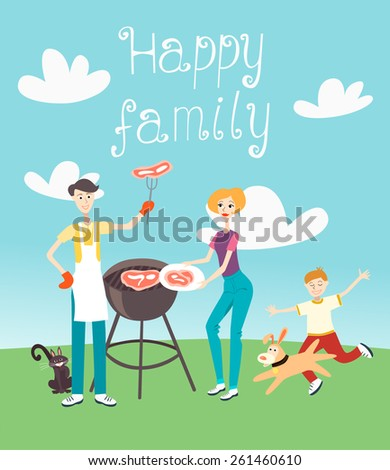 Family Barbecue - Illustration - stock vector