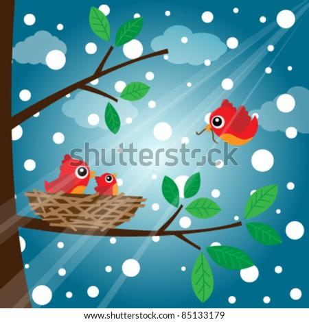 Family bird feeding in the evening - stock vector