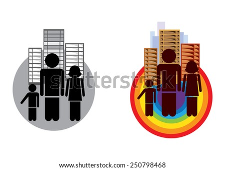Family  black and white and colored icon  - stock vector