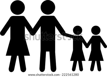 Family black and white icon - stock vector