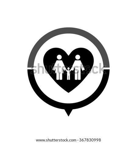 Family - black vector icon; map pointer;  message bubble