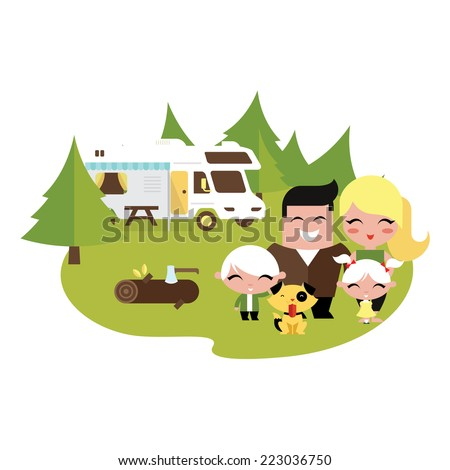 Family camping outdoors - stock vector