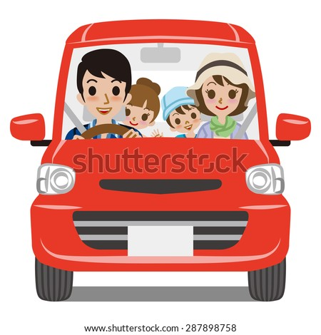 Family Car Driving - Front view - stock vector
