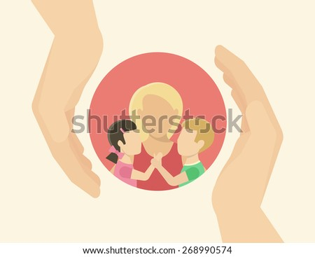 Family care. Mom with two kids. Flat illustration on white - stock vector