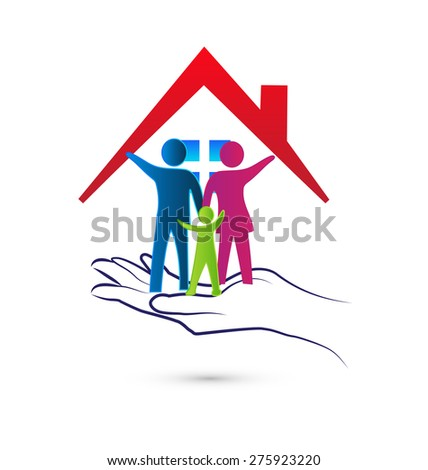 Family care protection insurance house concept symbol icon logo design template - stock vector