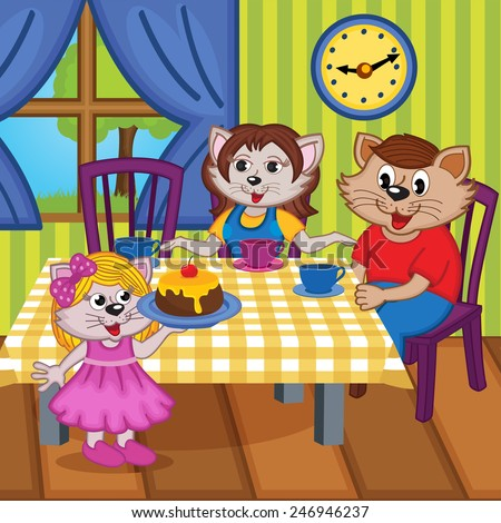 family cats eat cake together - vector illustration, eps
