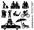 Family Couple Tourist Travel Vacation Trip Holiday Honeymoon Icon Symbol Sign Pictogram - stock photo