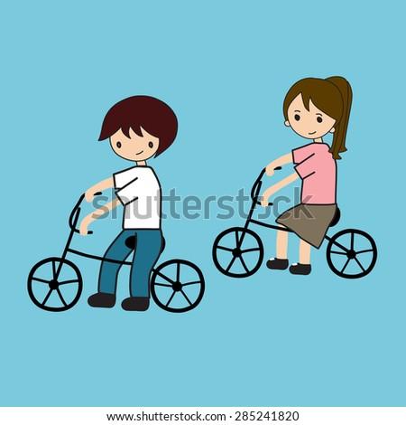 family cycling - stock vector