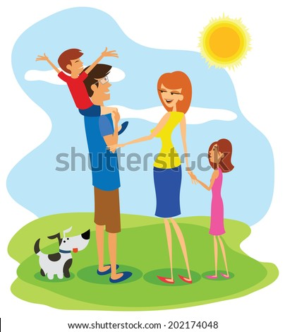 Family day. Happy family outing, fun in the sunny day! - stock vector
