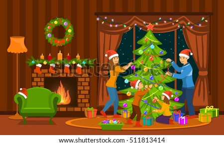 Christmas Tree In Living Room family decorating christmas tree living room stock vector