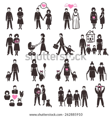 Family decorative icon set with sketch people silhouettes isolated vector illustration - stock vector
