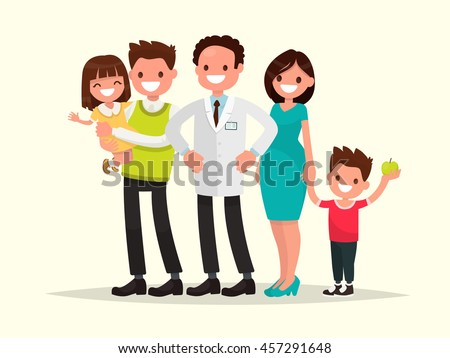 Family dentist or doctor. The dentist and his smiling patients . Vector illustration of a flat design - stock vector