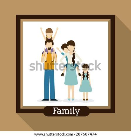 family  design over beige background, vector illustration - stock vector