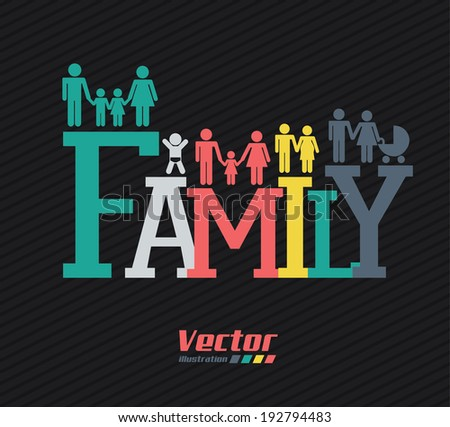 Family design over black background, vector illustration
