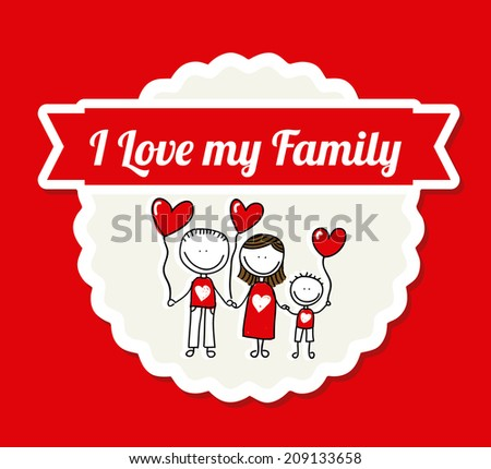 family design over red  background vector illustration