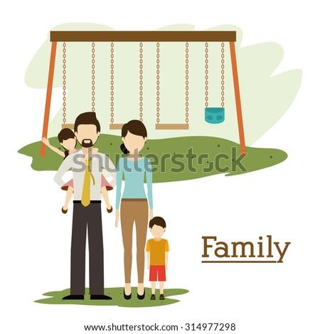 Family digital design, vector illustration eps 10 - stock vector
