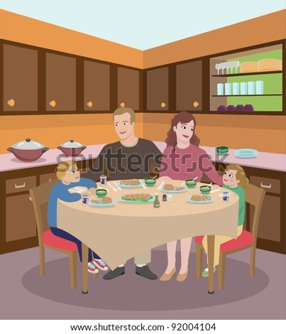 Family Dining In The Kitchen-vector - stock vector