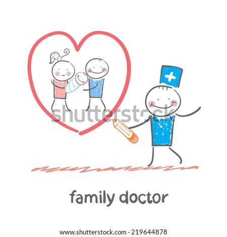 family doctor draws a heart around the family - stock vector
