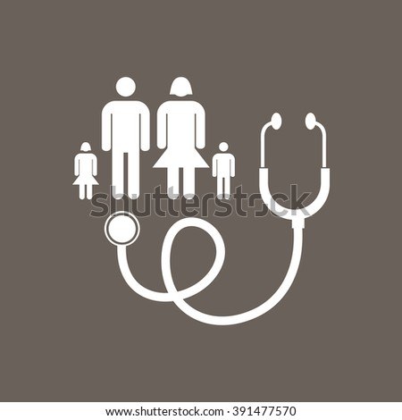 Family Doctor Icon on Dark Gray Color. Eps-10.