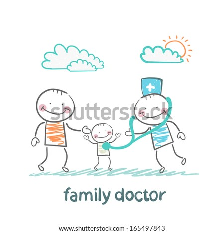 family doctor treats the father and his child