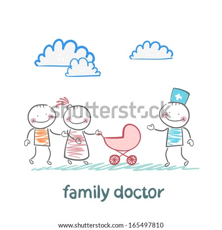 family doctor treats the father, mother and baby - stock vector