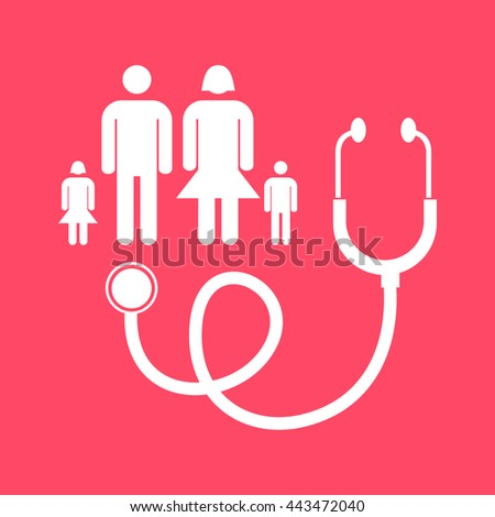 Family Doctor white icon on magenta color background. Eps-10.