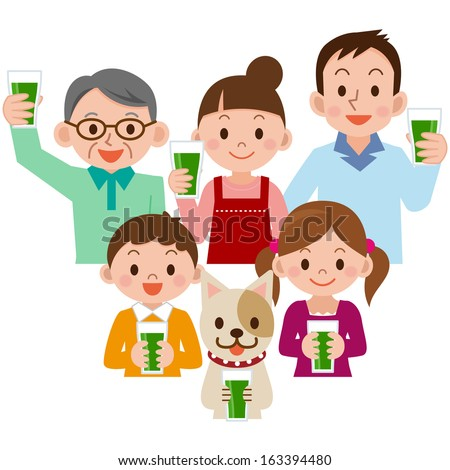 Family drinking vegetable juice - stock vector