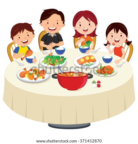 Family eating dinner. Family dinner isolated. - stock vector
