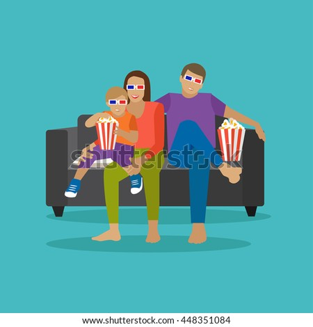 Family eating popcorn and watching movie in home theater. Cinema concept vector illustration in flat style. Movie at home. - stock vector