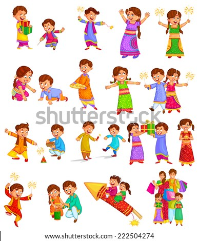 Family enjoying firecracker celebrating Diwali in vector - stock vector