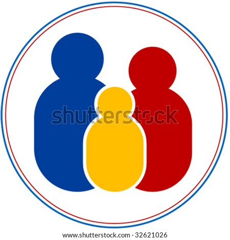 Family: father, mother and child in primary colors - stock vector
