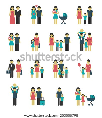 Family figures icons set of parents children married couple isolated vector illustration - stock vector