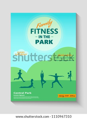 Family Fitness Park Ad Poster Flyer Stock Vector 1110967310